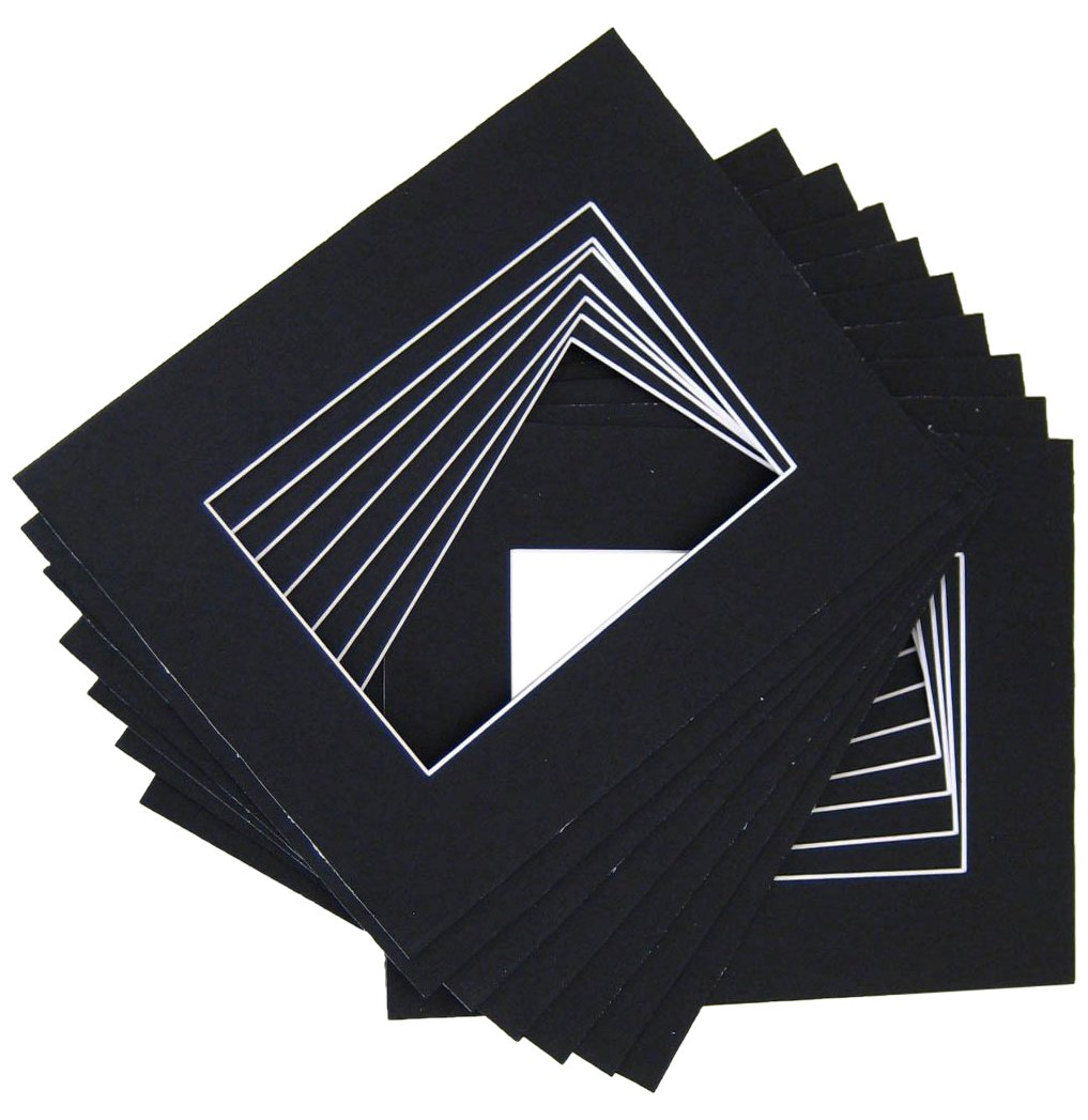 10 of 18x24 Black Pre-cut Acid-free whitecore mat for 13x19 + back+bag by Golden State Art