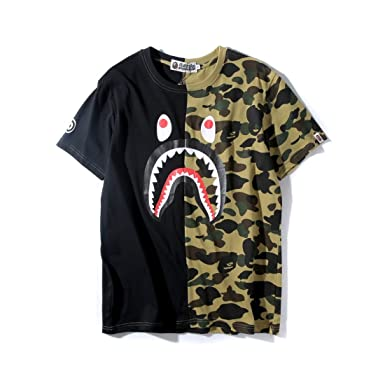 cb28085f Big Mouth Shark Ape Bape Camo Casual T Shirt Tees Unisex with Round Neck  Short Sleeve