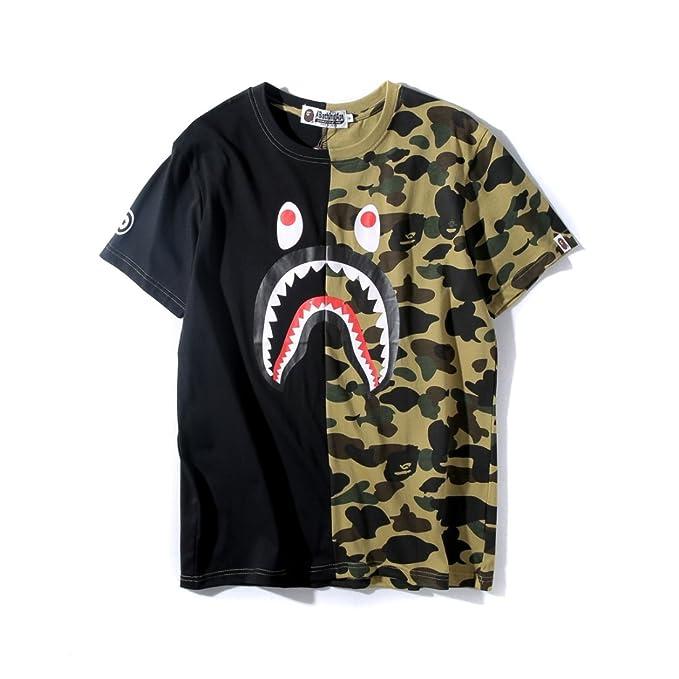 77e5ac2c6 Big Mouth Shark Ape Bape Camo Casual T Shirt Tees Unisex with Round Neck  Short Sleeve