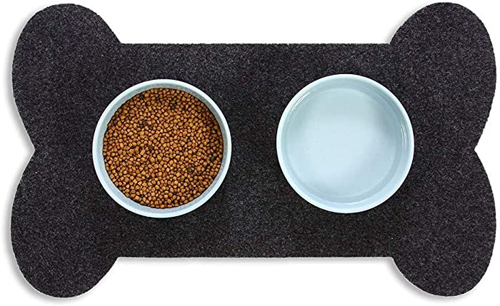 Resilia Bone Shaped Dog Food Bowl Placemat - Slip-Resistant, Machine Washable Pad, Protects Floors from Water Spills & Stains, Pet Accessories & Supplies