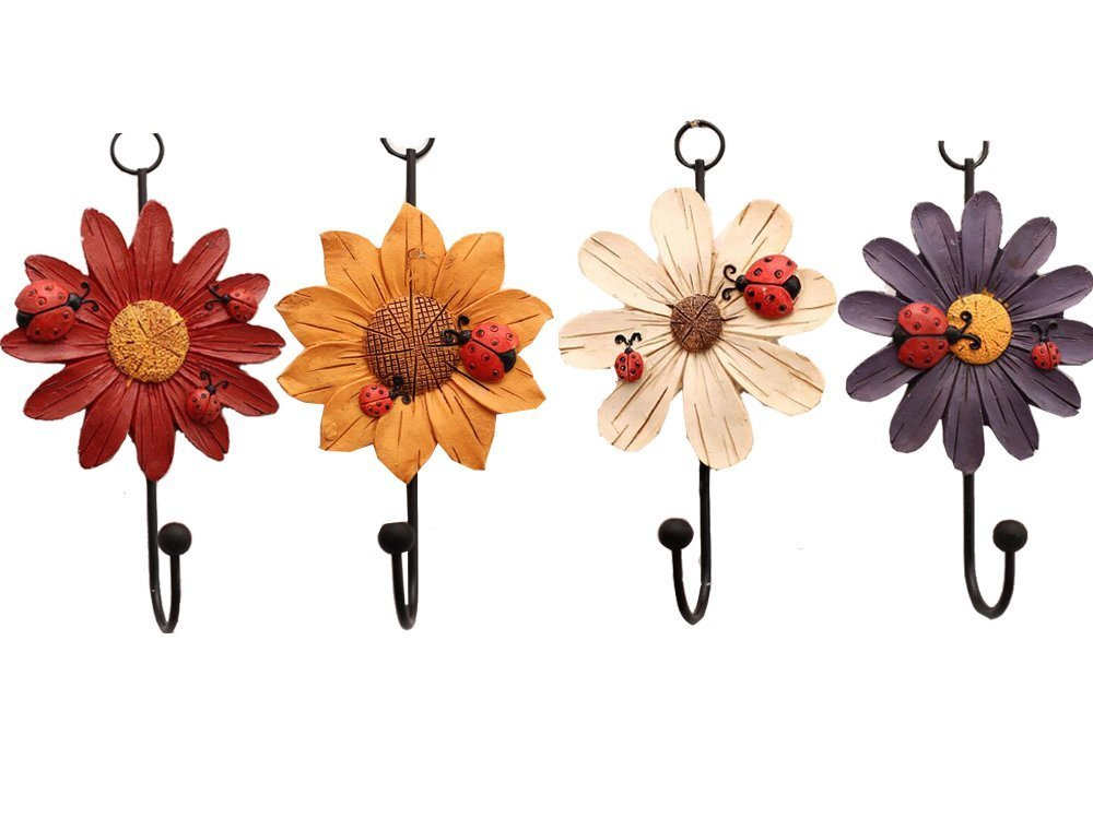Creative Daisy Resin Wall Hooks Wall Mounted Art Flower Iron Hook Hand-painted Hanging Coat / Hat /Key/ Towel Hooks Home Decoration(Set of 4) by Skyling (Image #7)