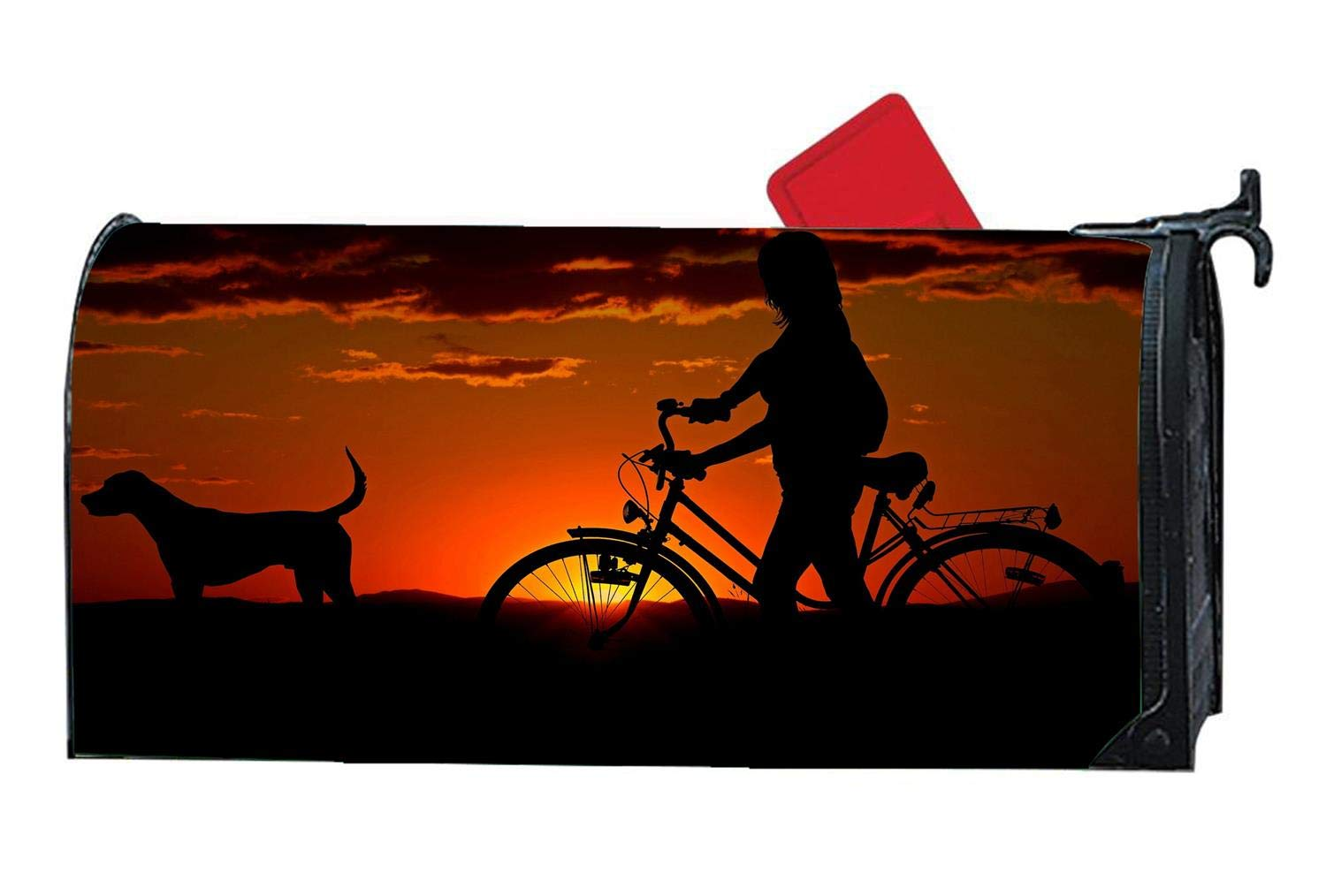 Woman Girl Bike Sunset Walk Custom Magnetic Mailbox Cover - Mail Wrap for Standard Mailboxes Size 6.5'' x 19''