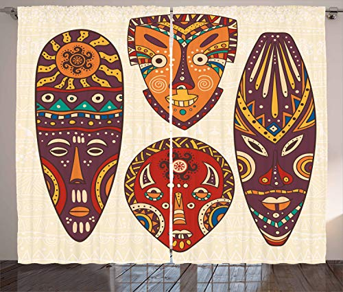 Ambesonne Tiki Bar Curtains, Designs Aborigine Artwork Patterns Cultural Hawaiian Print, Living Room Bedroom Window…