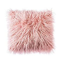 OJIA Deluxe Home Decorative Super Soft Plush Mongolian Faux Fur Throw Pillow Cover Cushion Case (18 x 18 Inch, Pink)