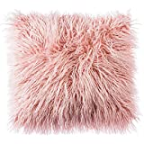 ojia deluxe home decorative super soft plush mongolian faux fur throw pillow cover cushion case 18 x 18 inch pink