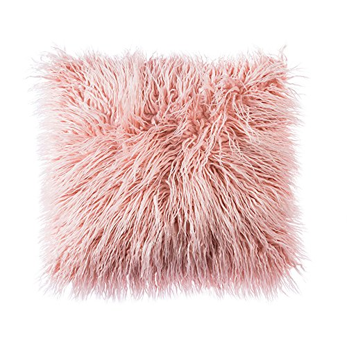 Ojia Deluxe Home Decorative Super Soft Plush Mongolian Faux Fur Throw Pillow Cover Cushion Case (18 x 18 Inch,Blush -