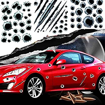 Autotrends 4pcs Funny 3d Bullet Hole Auto Car Stickers Body Side