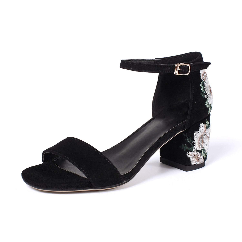 Black High Heel Sandals Real Leather Ankle Strap Thick Heel Print Sandals Elegant Vintage shoes