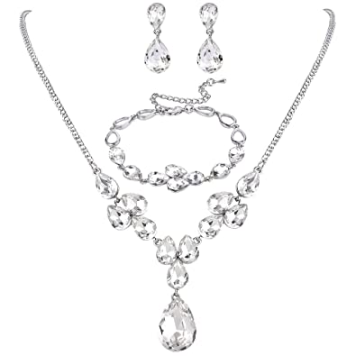 Clearine Women's Fashion Wedding Bride Crystal Infinity Figure 8 Y-Necklace Bracelet Dangle Earrings Set ADrXKR