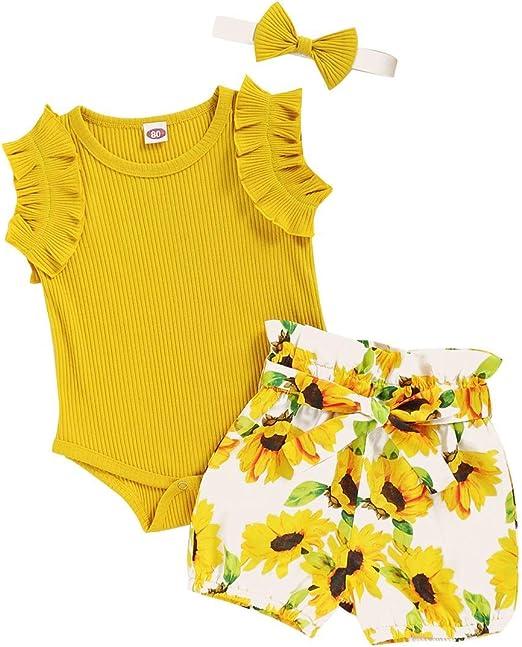 FYMNSI Neugeborenes Baby M/ädchen Sommer Bekleidungsset R/üschen /Ärmellos Body Strampler Blumen Shorts Stirnband 3tlg Outfit f/ür 0-18 Monate