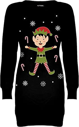 Womens Fleece Christmas Ladies Santa Rudolph Beer Sweatshirt Xmas Jumper Dress