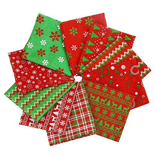 10PCS/LOT 20X50CM Christmas Fabric by the Yard-Christmas Decor Patchwork Fabric-Fat Quarters for Sewing-Fat Quarters Fabric Bundles Baby-Fat Quarters Fabric Autumn-Patchwork Fabrics for Quilting Decor
