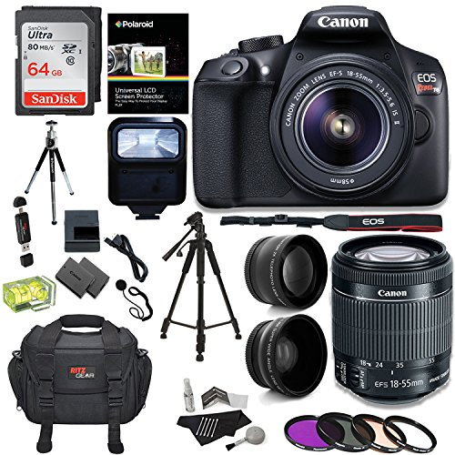 Canon EOS Rebel T6 Digital SLR Camera Kit + EF-S 18-55mm f/3.5-5.6 IS II Lens + Pro .58x & 2.2x Lenses + Sandisk 48GB Memory + 57