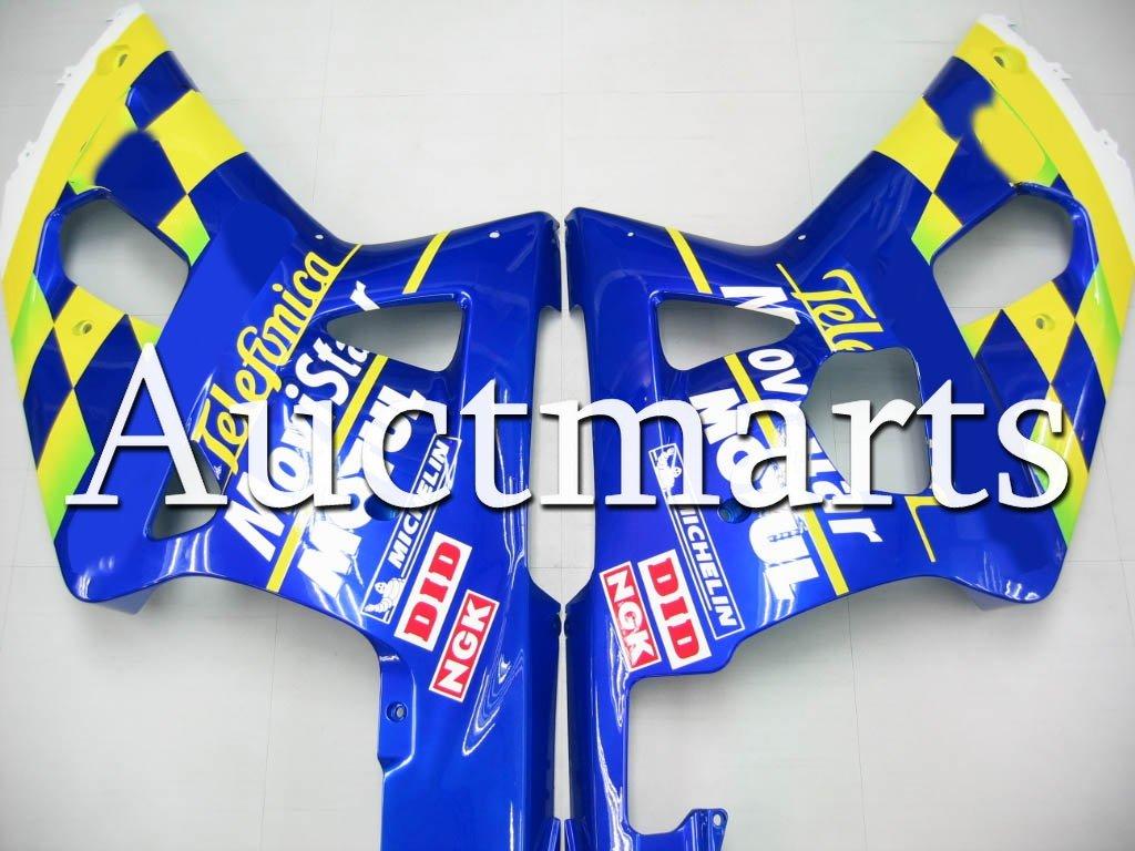 P//N:2a6 Auctmarts Injection Fairing Kit ABS Plastics Bodywork with FREE Bolt Kit for Suzuki GSXR600 GSX-R 600 K1 2001 2002 2003 Blue Green Movistar
