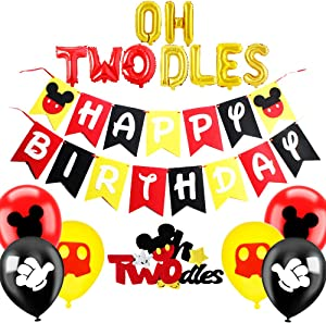 Oh Twodles Balloons Mickey Mouse Second Birthday Cake Topper 2nd Banner Party Supplies Decorations Photo Prop for Boy Baby Bday (Twodles)