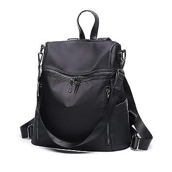 LOSMILE Damen Rucksack, Handtaschen Casual Nylon Daypack Schultertasche Reiserucksack Backpack für Schule Reise Arbeit (Schwarz)