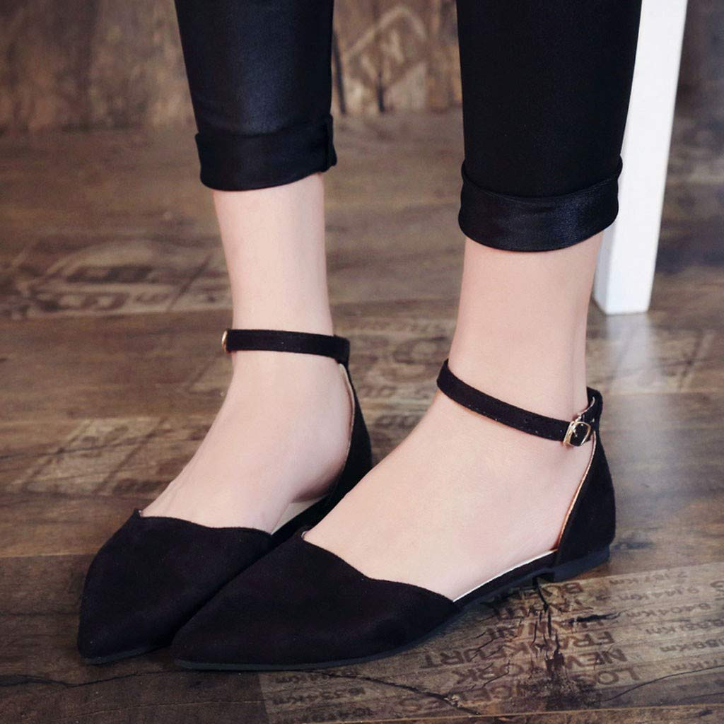 Womens Summer Sandals Closed Pointed Toe Buckled Strap Ballet Flat Ankle Strap Shoes