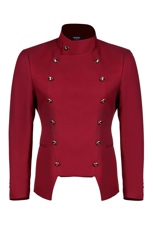 JINIDU Men's Casual Double-Breasted Suit Coat Jacket Business Blazers TT01