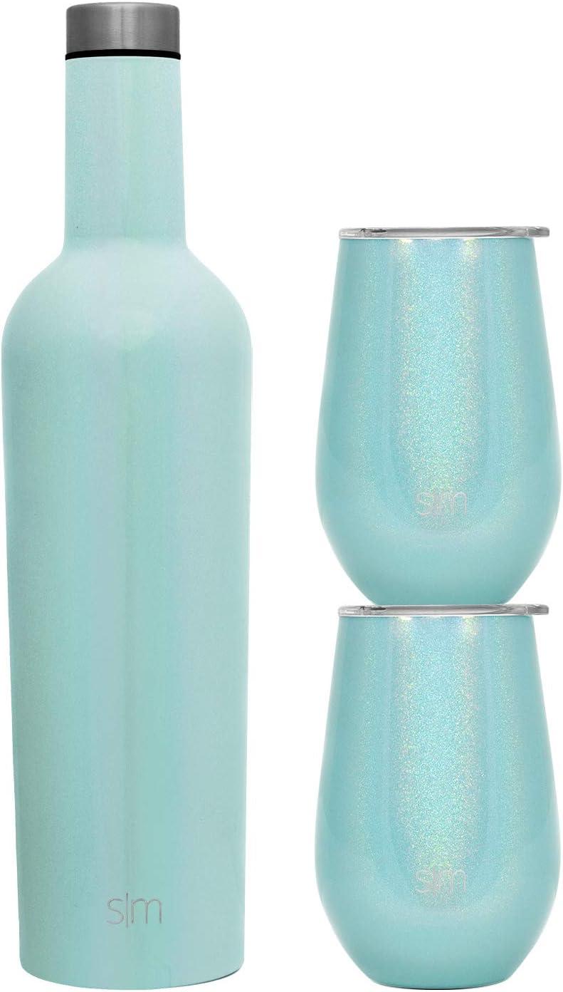 Simple Modern Spirit Wine Bundle - 2 12oz Wine Tumbler Glasses with Lids & 1 Wine Bottle - Vacuum Insulated 18/8 Stainless Steel Shimmer: Aqua Aura