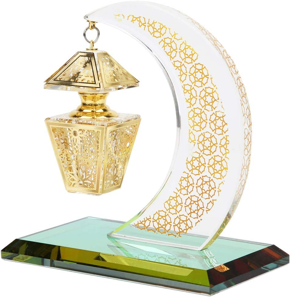 Hztyyier Moon Decoration Transparent Moon Model Handicrafts with Golden Egyptian Perfume Bottles for Car Home Office Table Decor