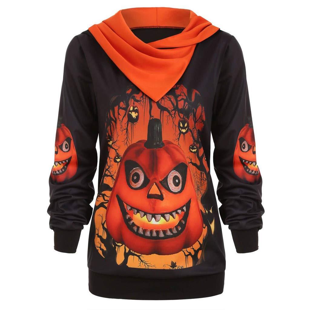Womens Hoodie Plus Size Halloween 3D Pumpkin Print Long Sleeve Slouchy Sweatshirts Pullover Tops