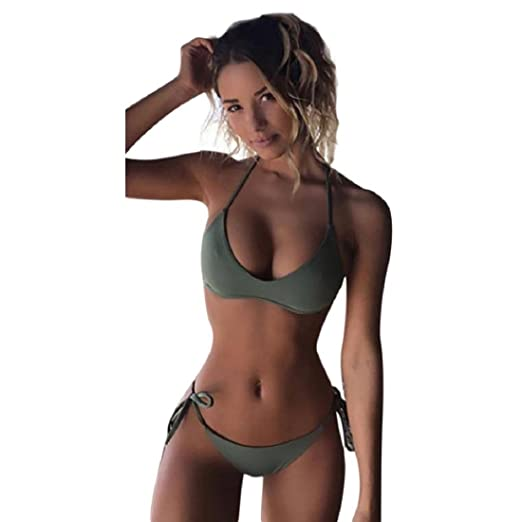 a06f26c412cf4 Amazon.com: GONKOMA Push-Up Padded Bikini Set Swimwear Two Piece Swimsuit  Beachwear For Women: Clothing