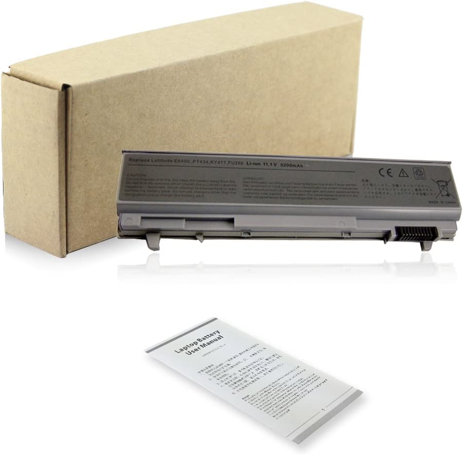 Bay Valley Parts 6 Cell 5200mAh Laptop Battery for Dell Latitude E6400 E6410 E6500 E6510 Precision M2400 M4400 M4500 Notebook, PN 312-0748 312-0749 312-0753 FU441 FU444 MP494 PT436 R822G WG351 XP394