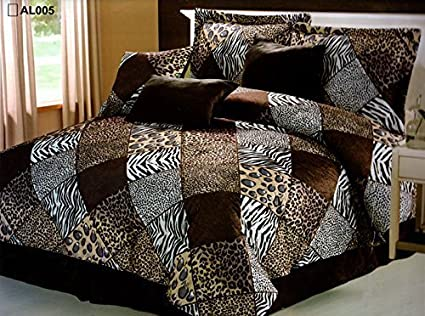 Exceptionnel 7 Pieces Multi Animal Print Comforter Set Queen Size Bedding Brown, Black,  White