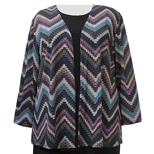 A Personal Touch Women's Plus Size Peacock Chevron Cardigan Sweater Cardigan - 6X