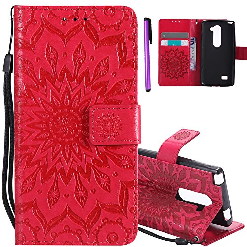 ISADENSER LG Leon C40 Case LG Tribute 2 Case [Wallet Stand] as Gift with Shockproof Credit Card Holder Flip Magnetic Closure Protection PU Leather Wallet Case Cover for LG Leon H320 Red Sunflower