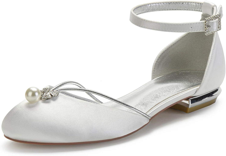 Moojm Donna Satin Punta Chiusa Balletto Strass Partito Scarpe da Sposa,Avorio,40 EU