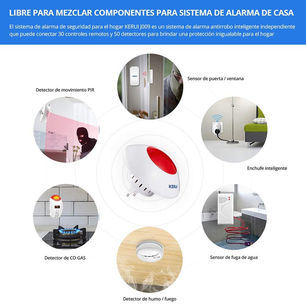 KERUI J009 Sirena de Alarma Inalámbrico con Kit Alarma de Seguridad para Hogar-Sistema de Alarma de Bricolaje para Casa con Sensor de Puertas y ...