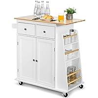 Deals on Costway Rubber Wood Countertop Rolling Kitchen Island Cart