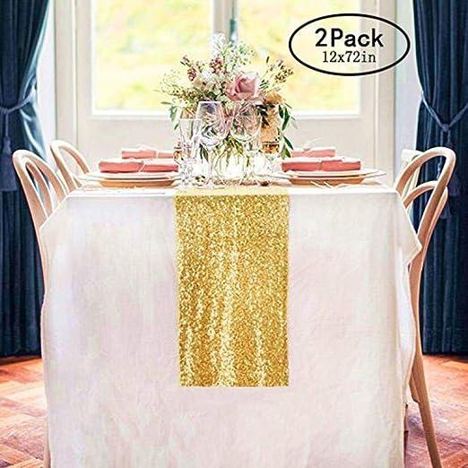 TRLYC 4Pcs Gold Custom Wedding Sequin Tablerunner for Birthday Christmas //New Year Decor Gold 11108
