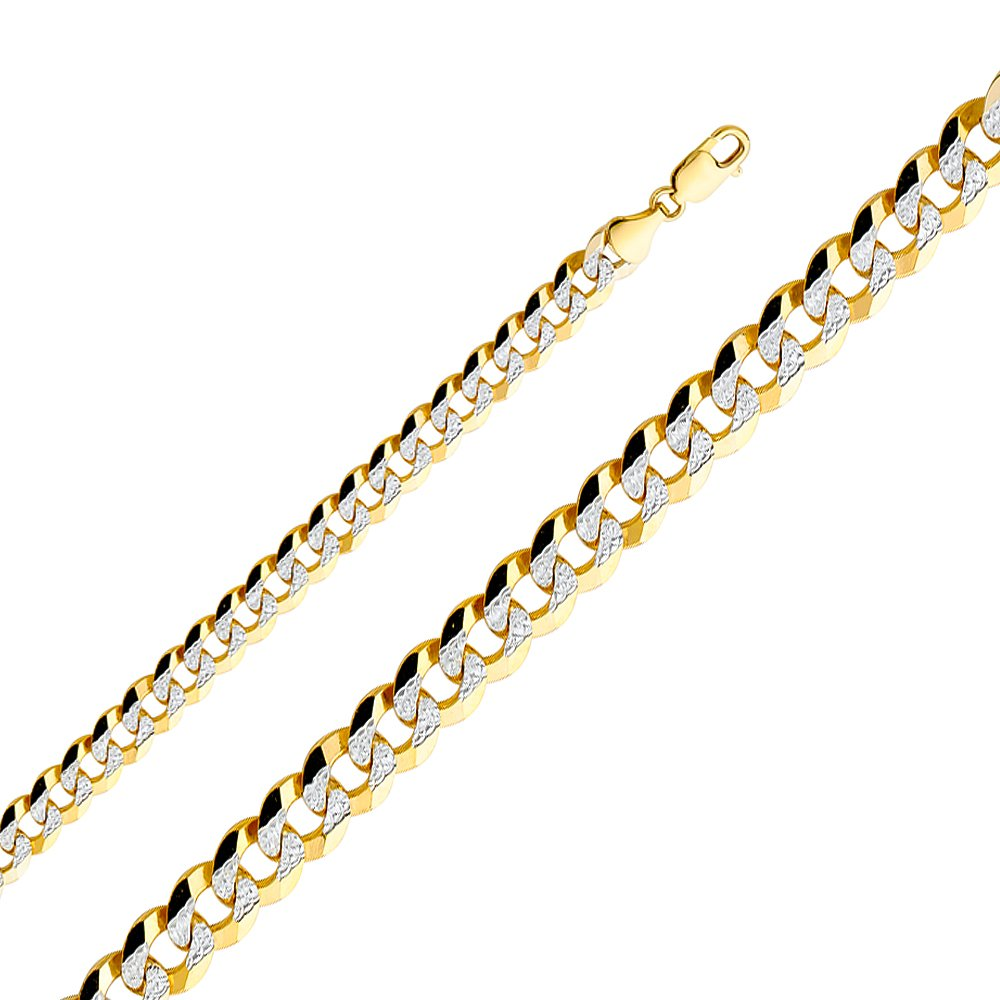 Wellingsale 14k Yellow Gold SOLID 9.5mm Polished Cuban White Pave Diamond Cut Chain Necklace - 26''