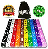 Tenzi Game Best Deals - 100 Dice Set, 10 Different Colors, 10 Dice of Each Color, 16mm D6 Acrylic Dice, FREE Velvet Carry Bag, Great for Games Like: Tenzi, Farkle, Yahtzee, Bunco or Teaching Math