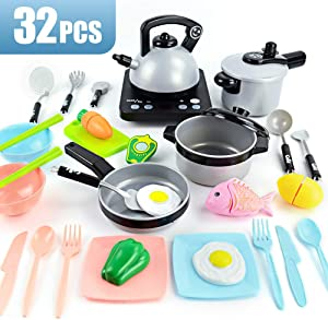 JoyGrow 32PCS Pretend Kitchen Cooking Toys Set Simulated Induction Cooker,Pots,Pans,Utensils,Cookware Playset Cutting Toys,Educational Toys for Baby Toddler Girls Boys