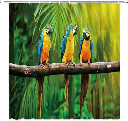 "Bathroom Waterproof Accessories Shower Curtain Set 71X71/"" Watercolor Parrots"
