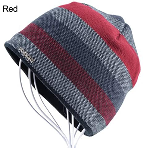 96d3f4fe28b13 Image Unavailable. Image not available for. Color  Men Knitted Skull Hat  Winter Beanie Wool Hat Plus Velvet ...