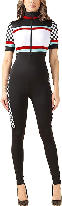 S, Black GENx Womens Short Sleeve Colorblock Zipper Car Racer Tight Jumpsuit NJ4152