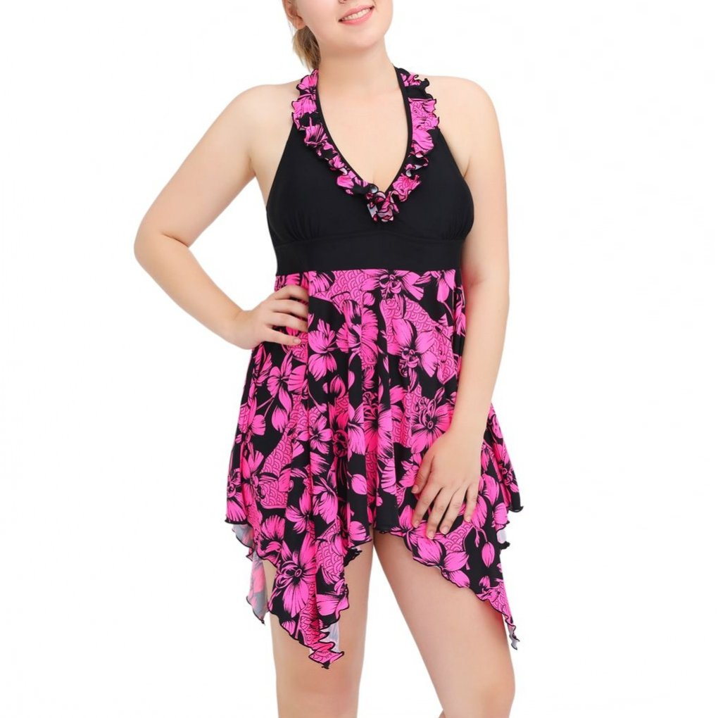 FOLWEP Women's 2 Piece Plus Size Bathing Suit Halter Tankinis Floral Swimsuit