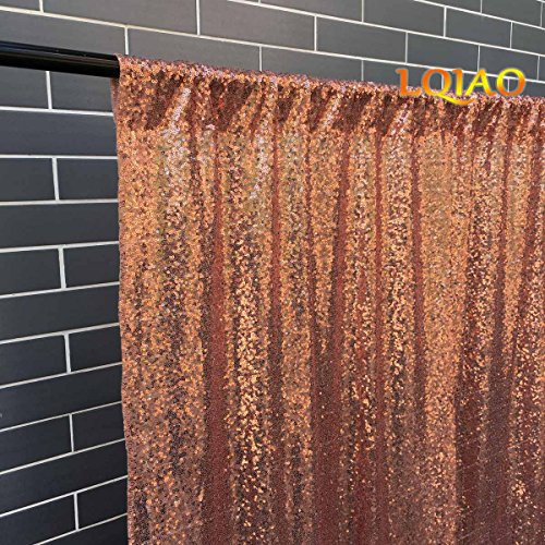 LQIAO Sequin Fabric Curtain Panels 50x63in-Rose Gold Shimmer Fabric Home Decoration Simple Pocket Style by LQIAO