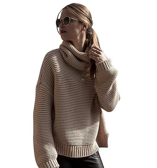 8de8ca21d78f YOUJIA Damen Weich Warm Strickpullover Kurz Rollkragen Pullover Langarm  Pulli  Amazon.de  Bekleidung