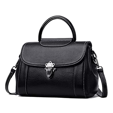 a3223a4fe7760 Real Leather Top-Handle Designer Bag for Women - Ladies Handbag and Purse ( Black