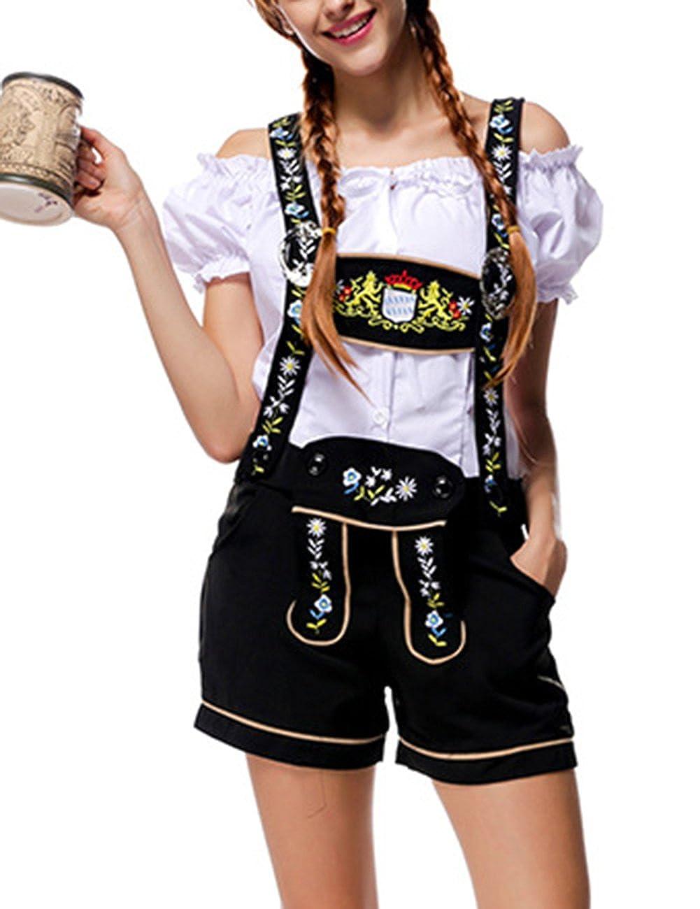 XUBA Traje Camiseta Camisa Pantalones de Tirantes Cl/ásico Sexcy de Cuadro de Oktoberfest Cerveza Tradicional de Cosplay Manga Corta Mujeres Camarero de Sirve Negro Blanco L