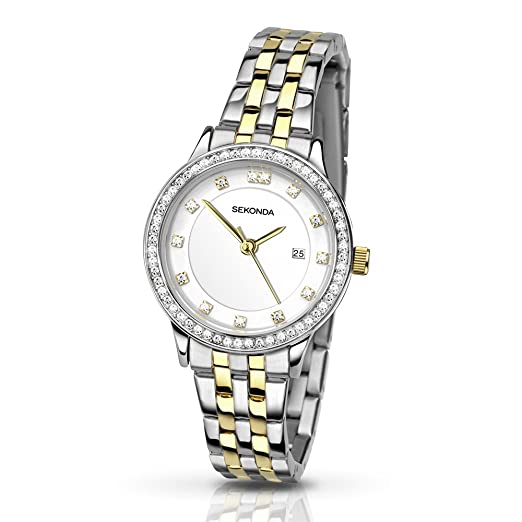 e10e81a8a05a SEKONDA Womens Analogue Classic Quartz Watch with Stainless Steel Strap  2388.27: Babar: Amazon.co.uk: Watches