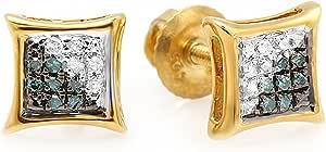 Dazzlingrock Collection Pendientes de tuerca de 0,08 quilates (quilates) con diamantes redondos azules y blancos y micropavé con forma de cometa