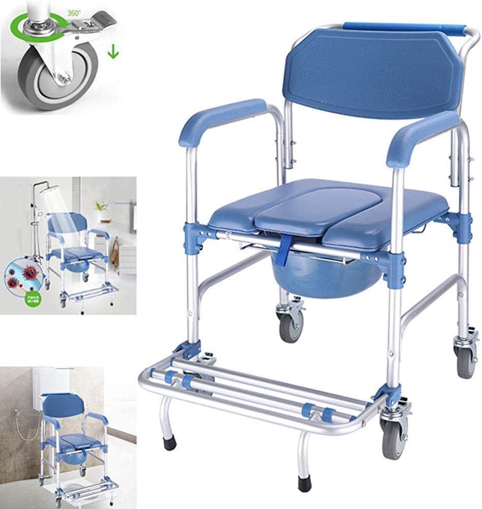 Silla cómoda con ruedas 4 en 1 / silla de inodoro con ruedas/silla de transporte para ducha con silla de ruedas/freno de 4 ruedas (360 °) / inodoro móvil plegable para discapacitados,A