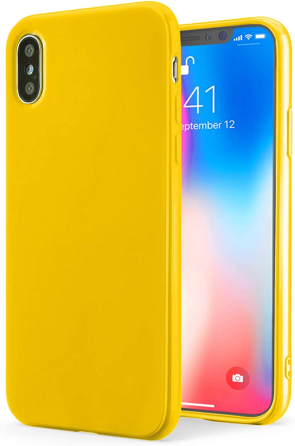 TENOC Phone Case Compatible for Apple iPhone Xs and iPhone X/10, Slim Fit Cases Soft TPU Bumper Protective Cover, Glossy Yellow