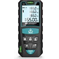 Laserafstandsmeter 50M, Mileseey Lasermaatregel met 2 Bellenniveaus & LCD-achtergrondverlichting, m/in/ft/ft + in Vanuit…